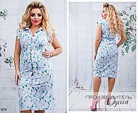 Платье-рубашка под пояс цветочный принт евро-бенгалин 48-50,52-54,56-58,60-62