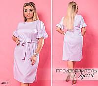 Платье короткий рукав рюш под пояс стрейч-коттон 48,50,52-54,56-58,60-62 , фото 1