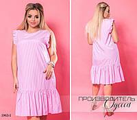 Платье клетка плечи рюш свободный фасон коттон 48,50,52-54,56-58,60-62 , фото 1