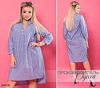 Платье-рубашка стойка полоска лён 48,50,52,54, фото 1