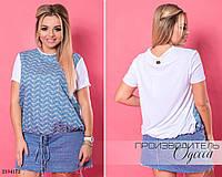 Блуза короткий рукав трикотаж+коттон 50-52,54-56