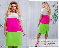 Платье короткий рукав трехцветное прямое лён 48-50,52-54,56-58,60-62