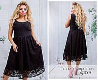 Платье вечернее без рукав расклешенное гипюр+софт 48-50,52-54,56-58, фото 1