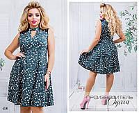 Платье вечернее чёкер без рукав расклешенное софт 48-50,52-54,56-58, фото 1