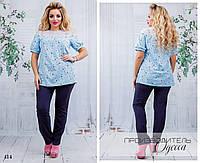 Костюм брючный блуза принт софт 48-50,52-54,56-58, фото 1