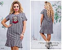 Платье короткий рукав низ рюш кошка софт 48-50,52-54