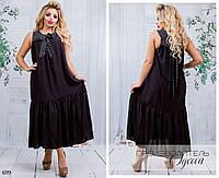 Платье без рукав миди свободного фасона штапель 50-52,54-56