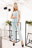 Стильный женский костюм жилет и брюки голубой