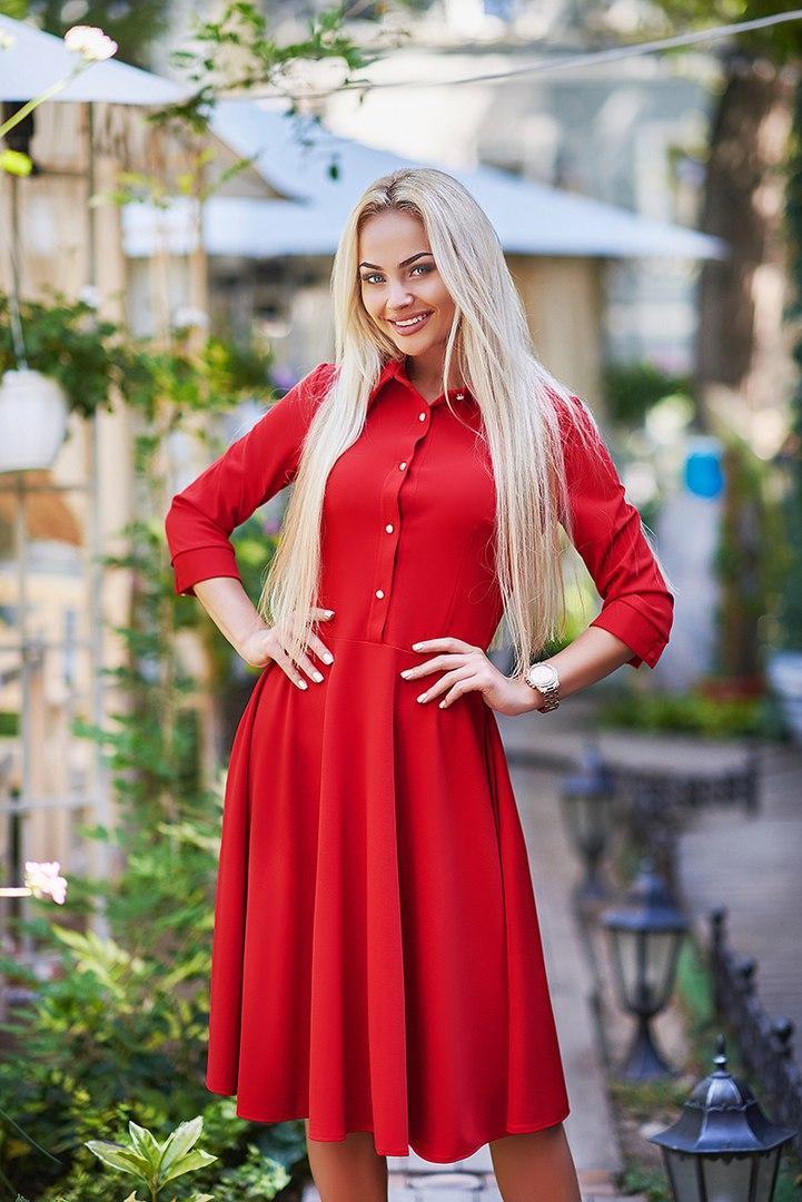 e747c4c54b6 Стильное женское платье - рубашка с юбкой солнце клёш ниже колена красное