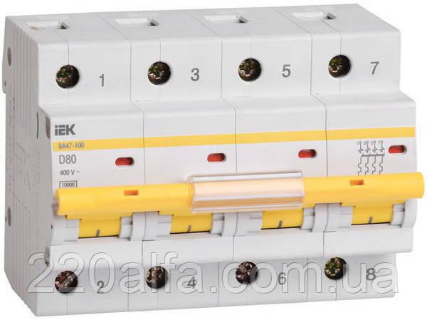 Автоматический выключатель ВА 47-29 4Р 80А С IEK