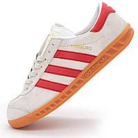 Кроссовки Adidas Hamburg светло серые с красным - Натуральная замша - Топ качество! - Реплика р.(41, 43)