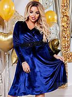 Шикарное нарядное женское  платье бархатное больших размеров до 58-го размера