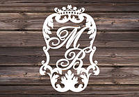 Свадебный герб, инициалы на свадьбу, монограмма, семейный герб из дерева - герб 5