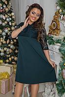 Красивое вечернее платье с кружевом больших размеров до 58-го изумрудное
