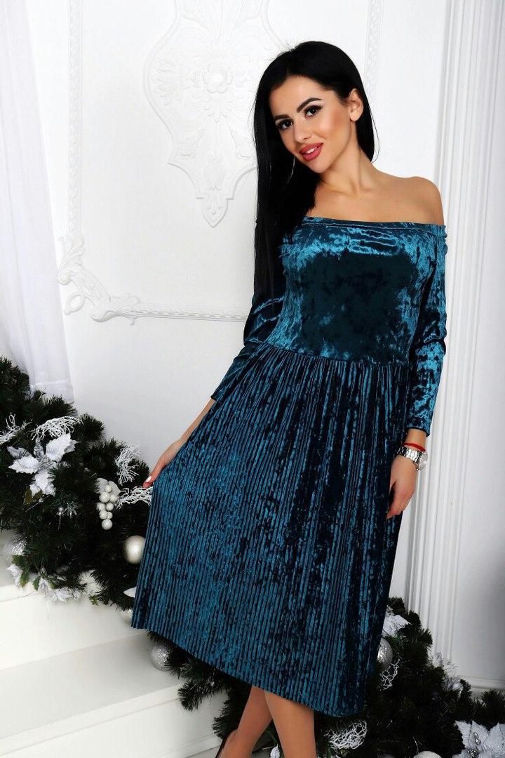 Красивое Нарядное Платье Бархатное Плиссе Ниже Колена Морская Волна ... 3232970f34cab
