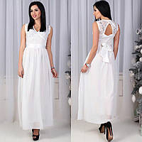 Вечернее шикарное длинное платье в пол гипюр + шифон белое
