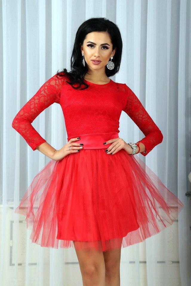 178eefddd12 Коктейльное обворожительное женское платье с пышной юбкой из фатина -