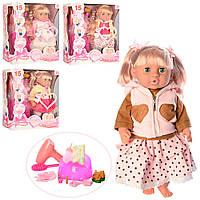 Кукла MZT9221F-G (4шт) 40см,горшок,бутылоч,фен,посуда, подгуз,зв(рус),пьт-писяет,4в,в кор,39-41-14см