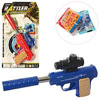 Пистолет ZM-X1AH-X1B (144шт) 25,5см, вод.пули, пульки(мягкие), мишень, 2цвета, на листе, 19-34-3см