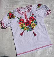 Детская трикотажная вышиванка с коротким рукавом для девочки 30-40 р., фото 1