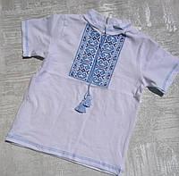 Детская трикотажная вышиванка с коротким рукавом для мальчика 30-40 р., фото 1