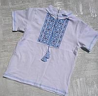 Детская трикотажная вышиванка с коротким рукавом для мальчика 30-40 р.