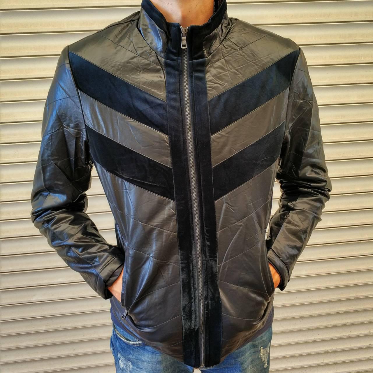 """Куртка мужская демисезонная стильная """"под кожу"""", есть большие размеры VIVO, Турция"""
