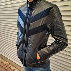 """Куртка мужская демисезонная стильная """"под кожу"""", есть большие размеры VIVO, Турция, фото 2"""
