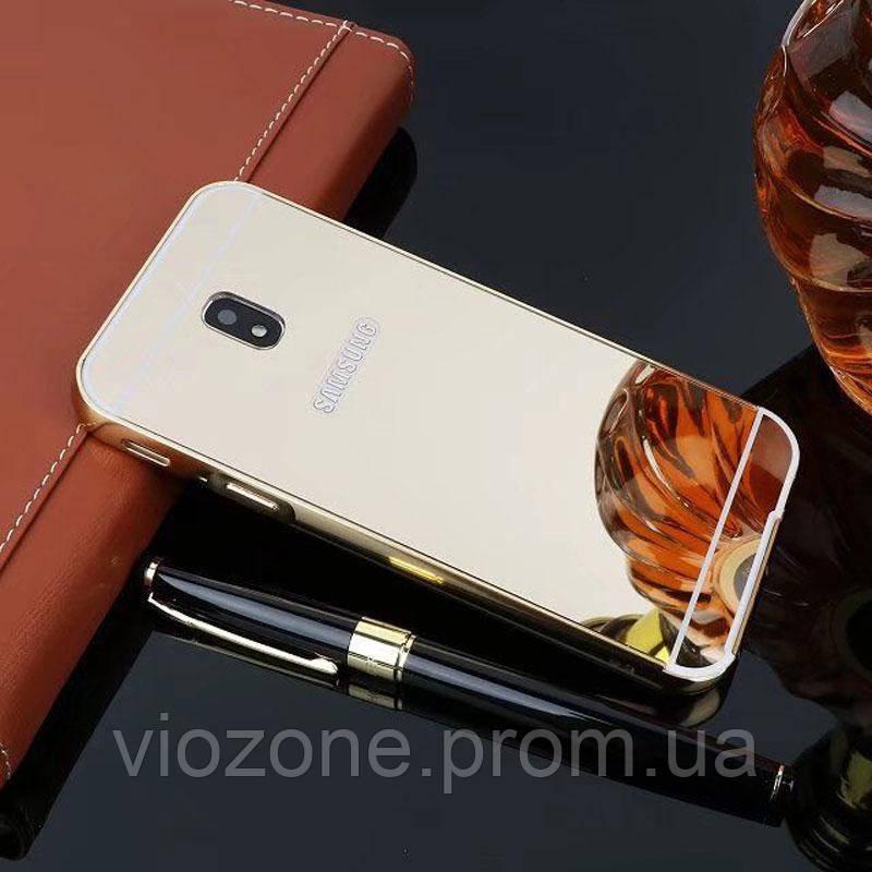 Зеркальный Чехол/Бампер для Samsung Galaxy J3 2017 / J330, Золотой (Металлический)
