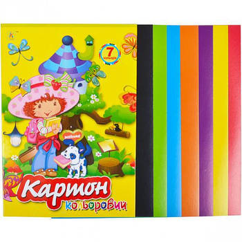 Цветной картон А4 7 листов Колор