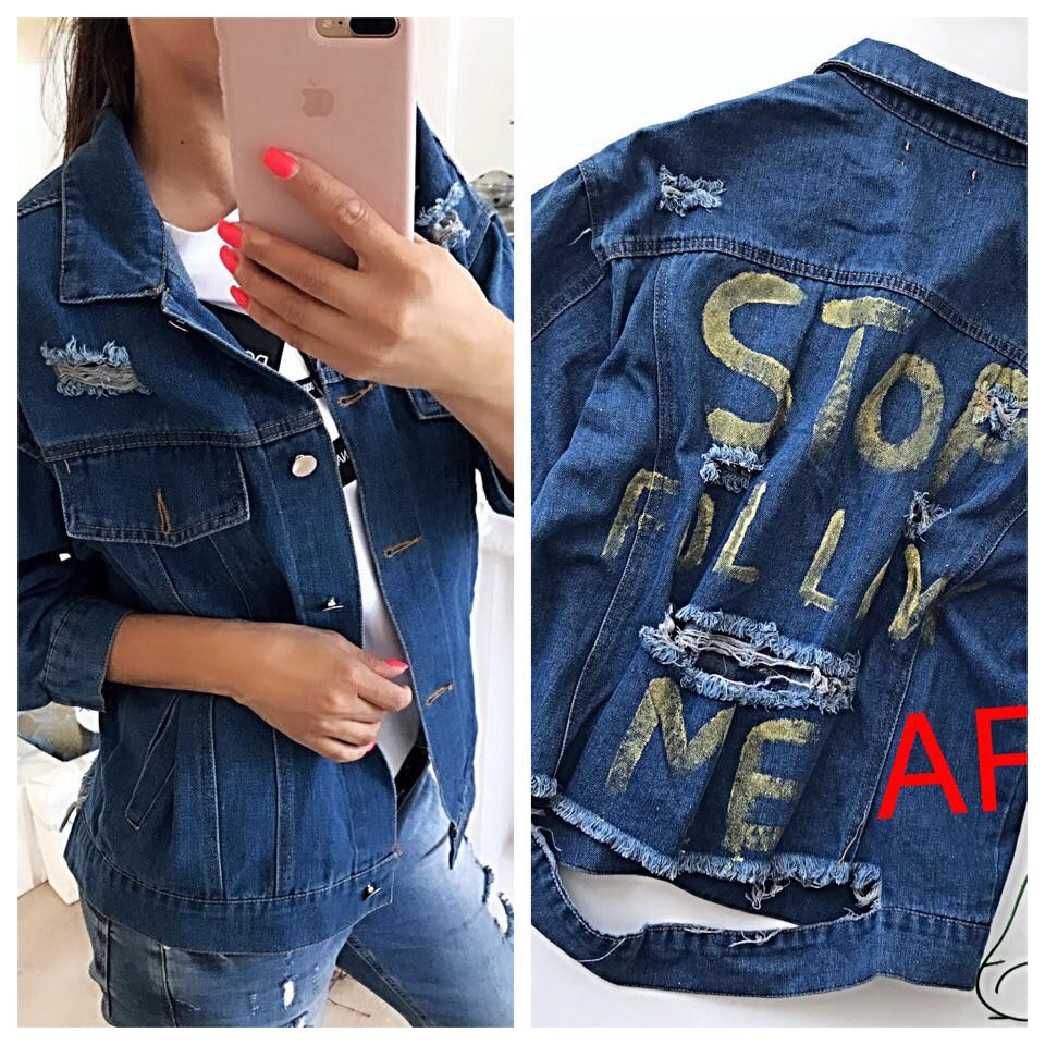 Куртка джинсовая с надписью длинный рукав