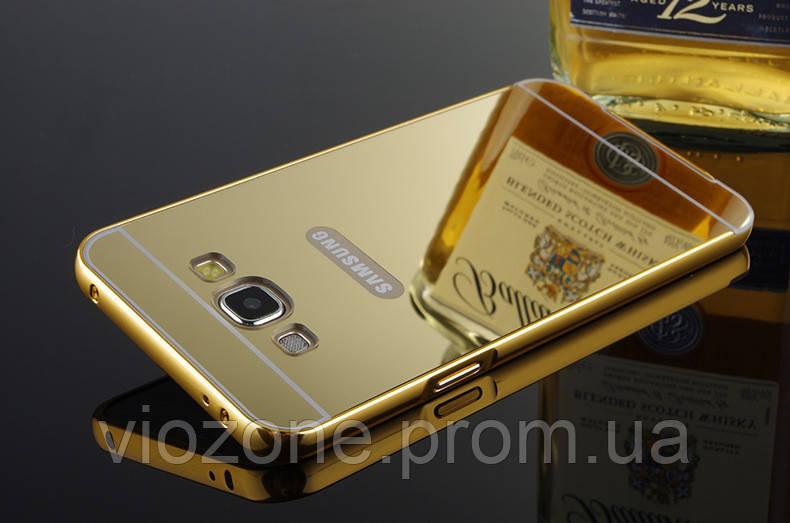 Зеркальный Чехол/Бампер для Samsung Galaxy Grand Prime / G531 / G530, Золотой (Металлический)