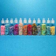 Набор Фигурки Разных цветов и Форм в Бутылочках для Дизайна и  Декора Ногтей.
