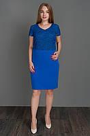 Нарядное платье красивого дизайна, 52 54 56 58 , код 5519 електрик