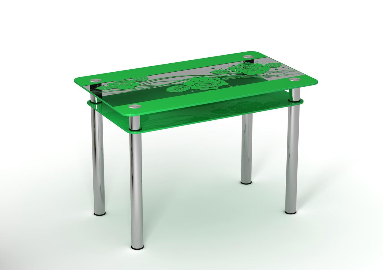 Стеклянный стол Роза переплет (900*650*750 мм.)