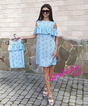 Комплект платьев с воланом мама + дочка, фото 2