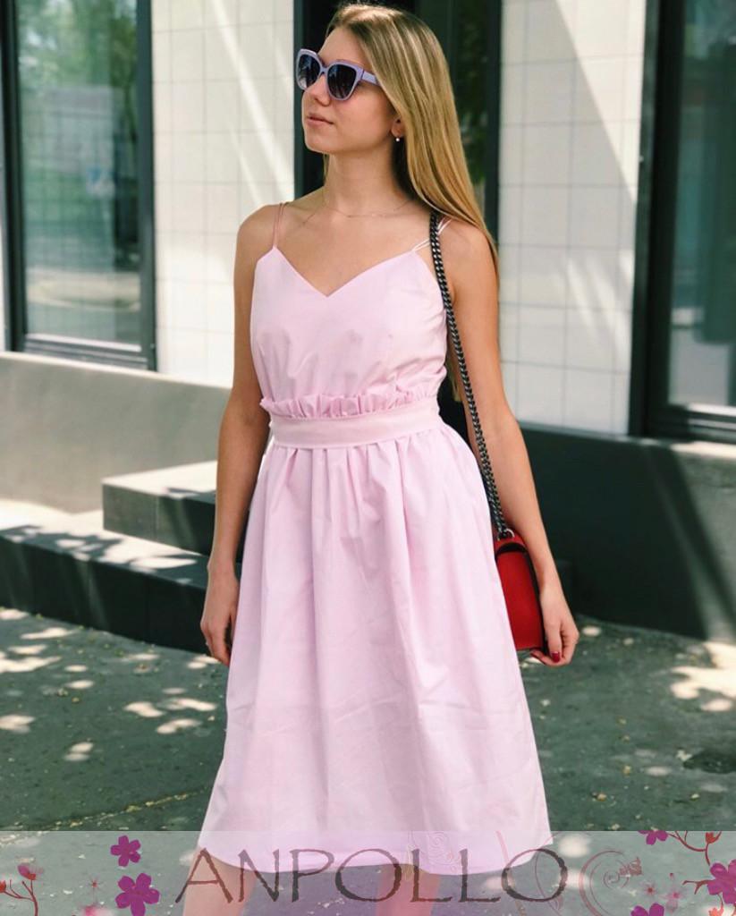 Платье из хлопка на бретелях с поясом ниже колена