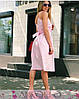 Платье из хлопка на бретелях с поясом ниже колена, фото 2