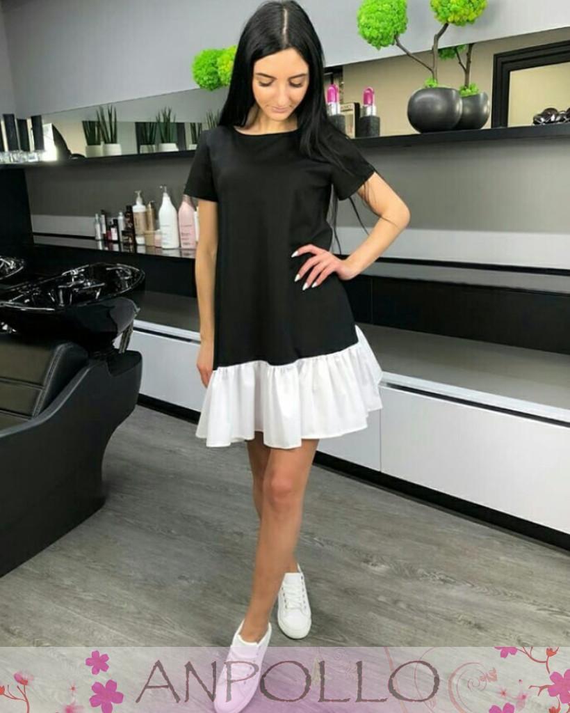 Платье летнее черное с белым воланом софт