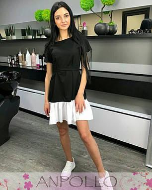 Платье летнее черное с белым воланом софт, фото 2