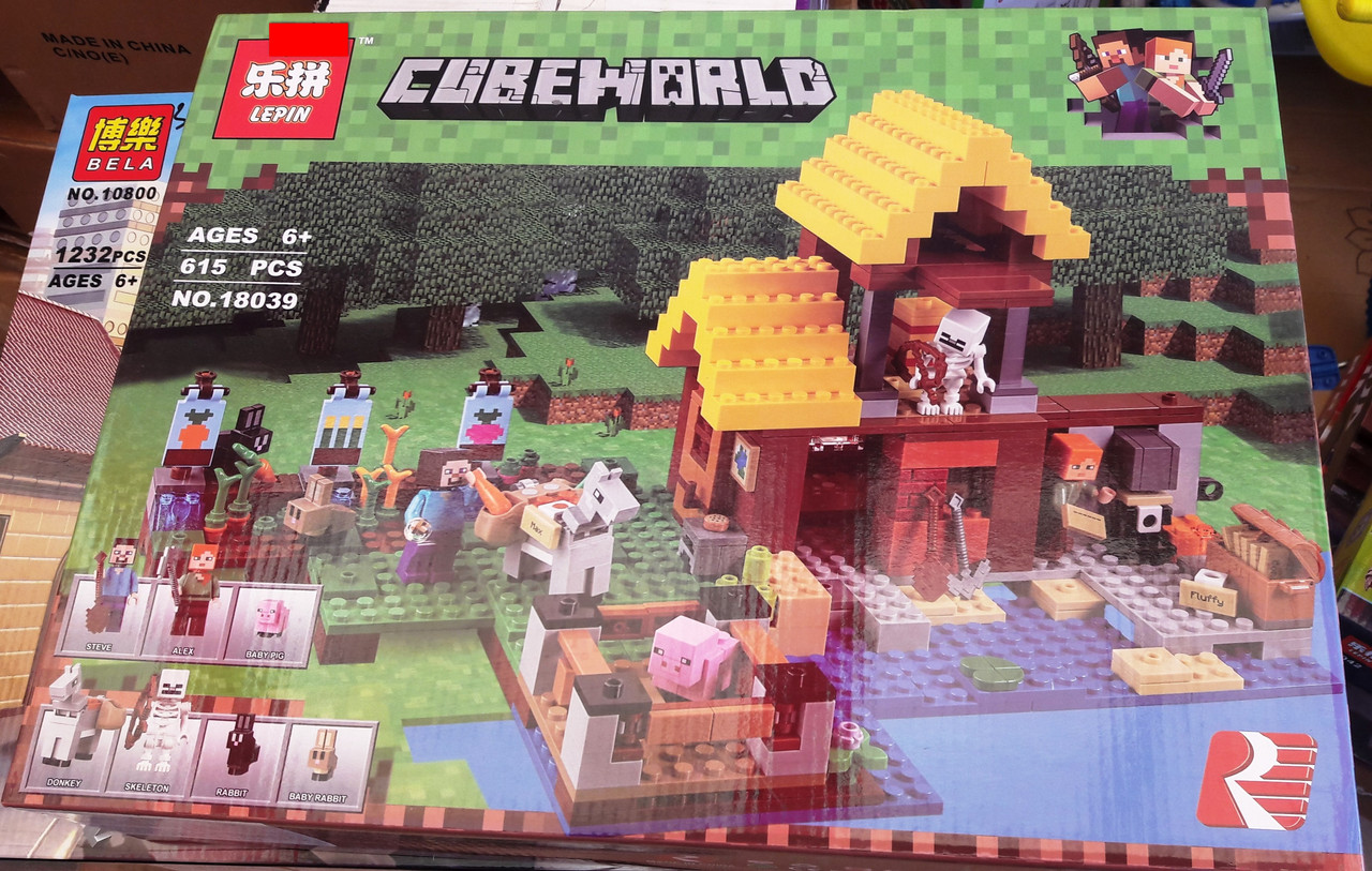 Конструктор Lepin 18039 Майнкрафт Minecraft Фермерский коттедж 615 деталей