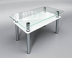 """Скляний стіл Вега з полицею (журнальний) білий, виробник """"Sentenzo"""""""