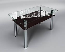 """Скляний стіл Вега з полицею (журнальний) коричневий, виробник """"Sentenzo"""""""