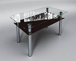 """Стеклянный стол Вега с полкой (журнальный) коричневый, производитель """"Sentenzo"""""""