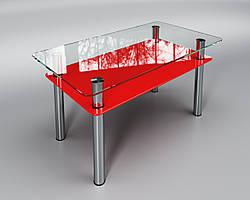 """Скляний стіл Вега з полицею (журнальний) червоний, виробник """"Sentenzo"""""""