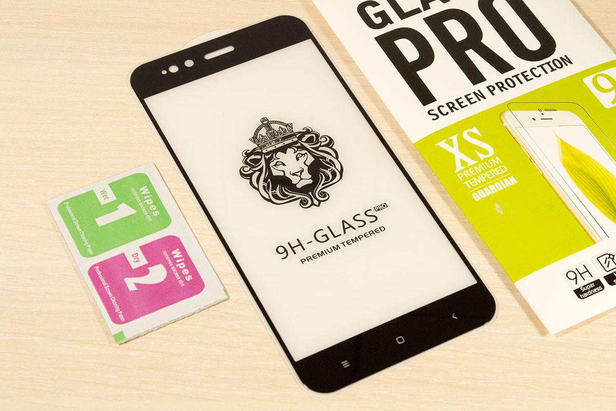 Защитное закаленное стекло Full Glue для Xiaomi Mi A1 клей по всей поверхности (Black)