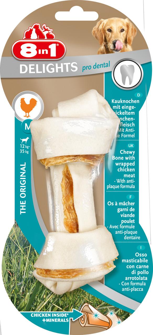 Лакомство 8in1 Pro Dental для собак Кость прессованная с куриным мясом M 14 см 1 шт