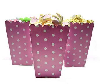 Коробочки для конфет Горох на розовом 5 штук