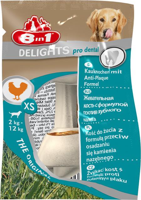 Лакомство 8in1 Pro Dental для собак Кость прессованная с куриным мясом XS 7 см 1 шт