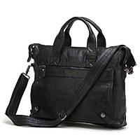 Горизонтальная мужская сумка портфель из натуральной кожи  в черном цвете Vintage 14067